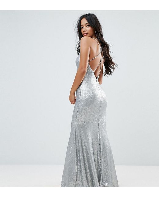 3ffd5788e79f TFNC London - Metallic Allover Sequin Maxi Dress With Strappy Back - Lyst  ...