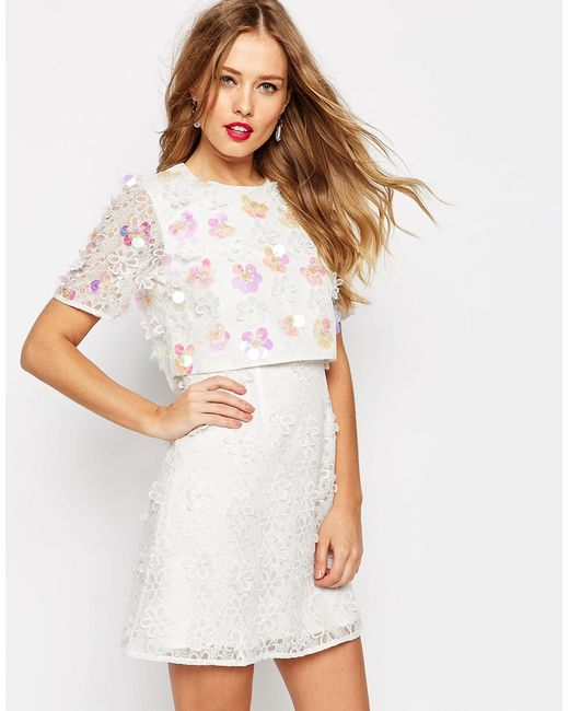 ASOS | Pink Salon 3d Floral Lace Embroidered Crop Top Mini Dress | Lyst