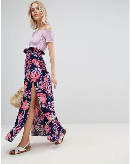 ASOS DESIGN - Multicolor Maxi Skirt With Belt In Print - Lyst