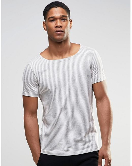 Asos Stripe T Shirt With Boat Neck In Grey Marl In White