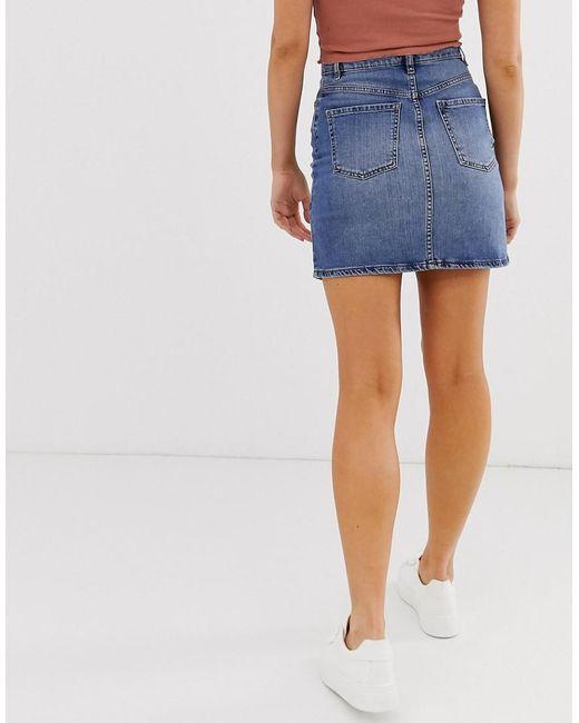 515f04360 ... Oasis - Blue Denim Mini Skirt In Mid Wash - Lyst