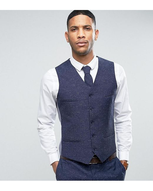 Lyst - Noak Skinny Wedding Suit Waistcoat In Linen Nepp in Blue for Men
