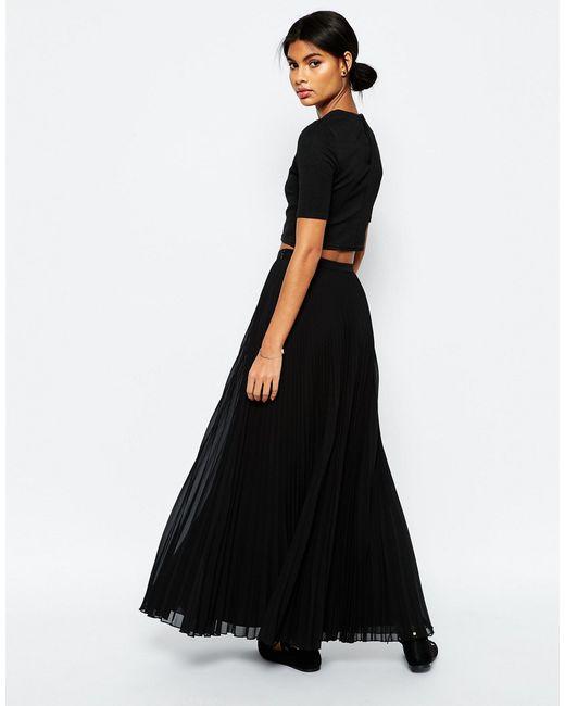 asos pleated maxi skirt in black lyst