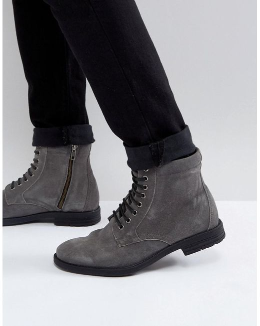 KG by Kurt Geiger - Gray Kg By Kurt Geiger Military Lace Up Boots Black for Men - Lyst
