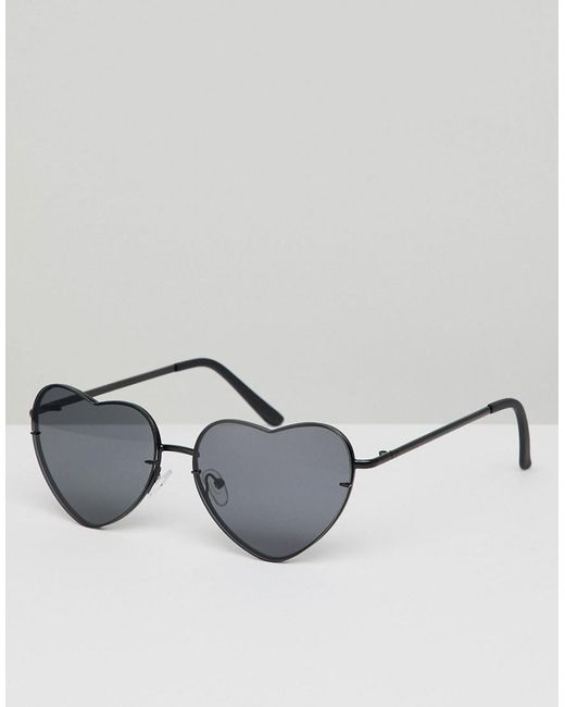 ASOS - Design Heart Shaped Sunglasses In Black Metal With Black Lens for  Men - Lyst ...