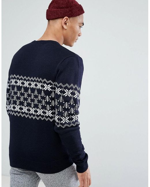 Lyst - French connection Fairisle Christmas Jumper in Blue for Men