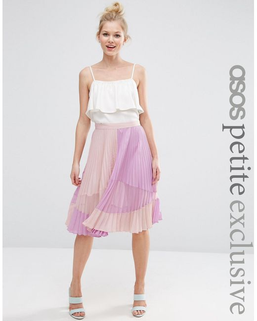 asos pleated midi skirt with sheer insert detail in purple