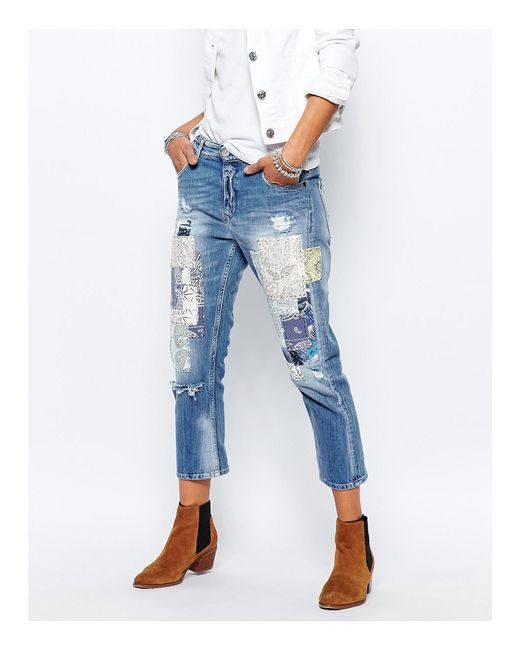 replay gracelly boyfriend jeans with paisley patches in. Black Bedroom Furniture Sets. Home Design Ideas