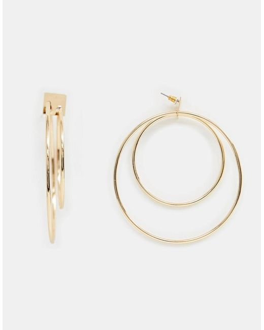 ASOS - Metallic Earrings In Double Hoop Design In Gold - Lyst