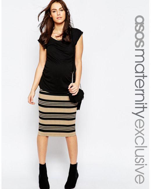 asos stripe midi pencil skirt in black lyst