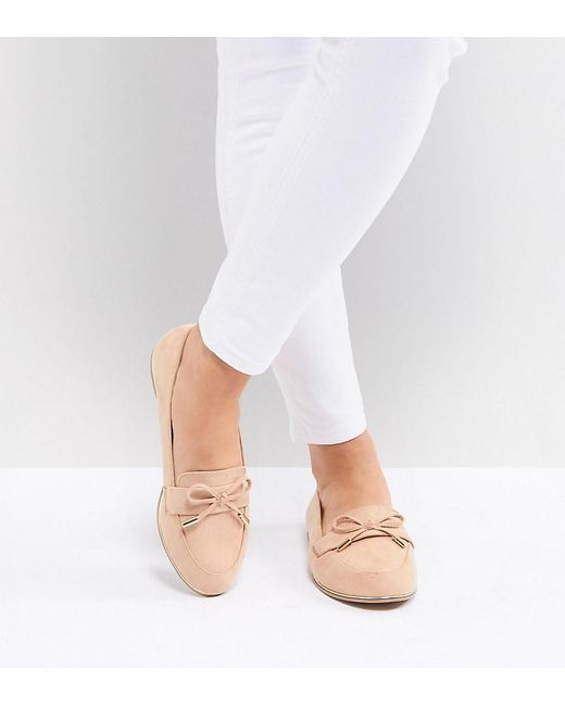 66e15f03f ASOS Mossy Wide Fit Flat Shoes in Natural - Lyst