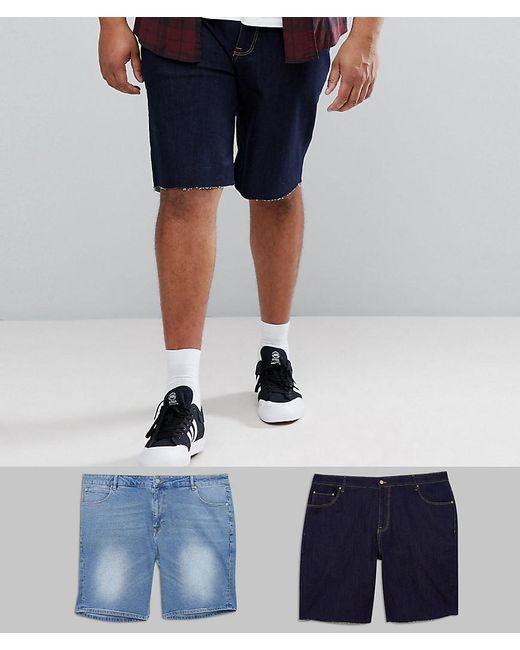 PLUS Denim Shorts In Slim Indigo & Light Wash - Indigo / light blue Asos L7q1B1