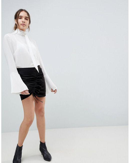 Minimum - Black Gathered Front Mini Skirt - Lyst