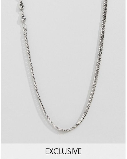 Reclaimed (vintage) - Metallic Inspired Lariat Necklace With Skull In Silver Exclusive At Asos for Men - Lyst