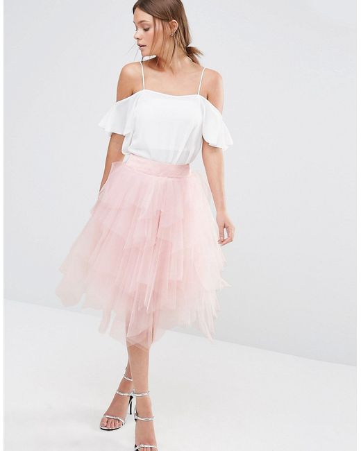 chi chi tulle midi skirt in layers in pink lyst