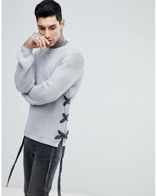 Lyst - Asos Textured Lace Up Jumper With Eyelets In Charcoal in ...