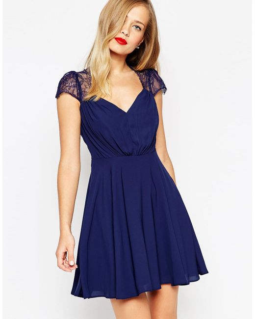ASOS   Blue Kate Lace Mini Dress   Lyst