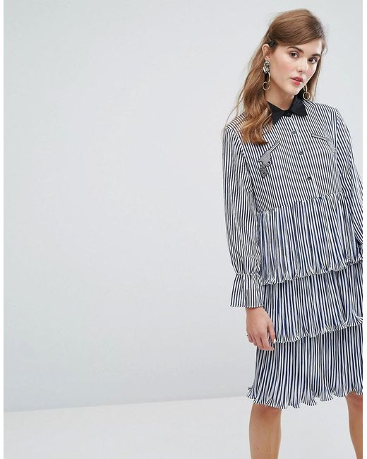 Sister Jane | Blue Midi Tiered Shirt Dress With Ruffles & Patches In Stripe | Lyst