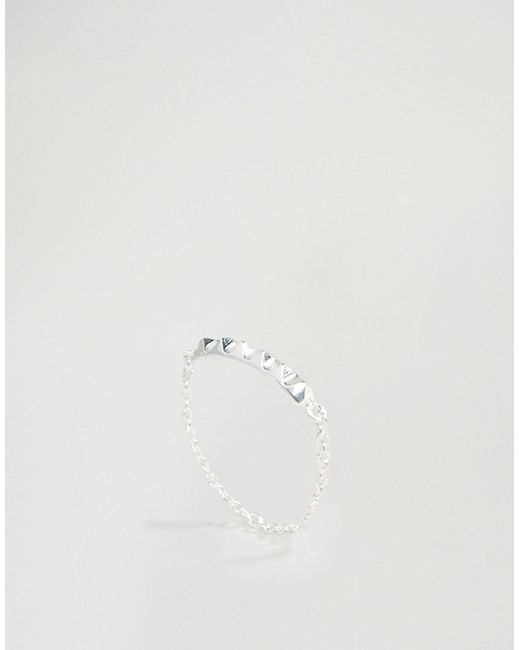 ASOS   Metallic Sterling Silver Studded Chain Ring   Lyst