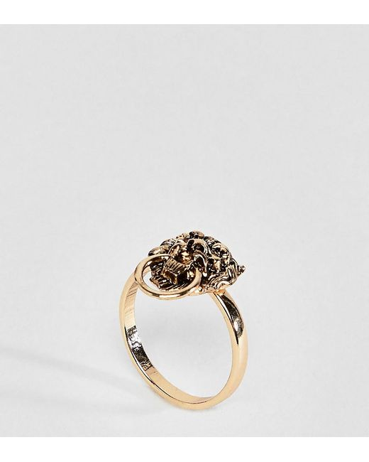 ASOS - Metallic Asos Design Curve Exclusive Lionhead Ring - Lyst
