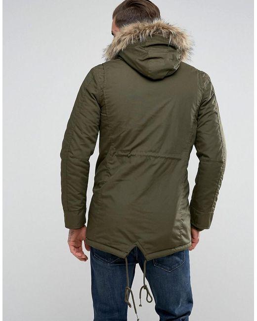 Schott nyc M51 Fishtail Parka Hooded Detachable Faux Fur Trim In ...