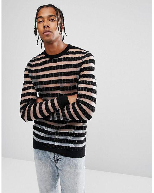 ASOS | Mesh Stripe Jumper In Black for Men | Lyst