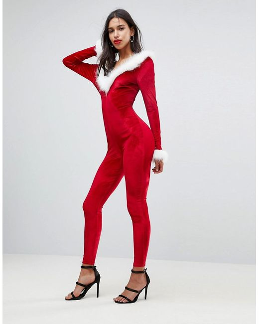 Club L   Red Sexy Santa Catsuit With Faux Fur Trim   Lyst