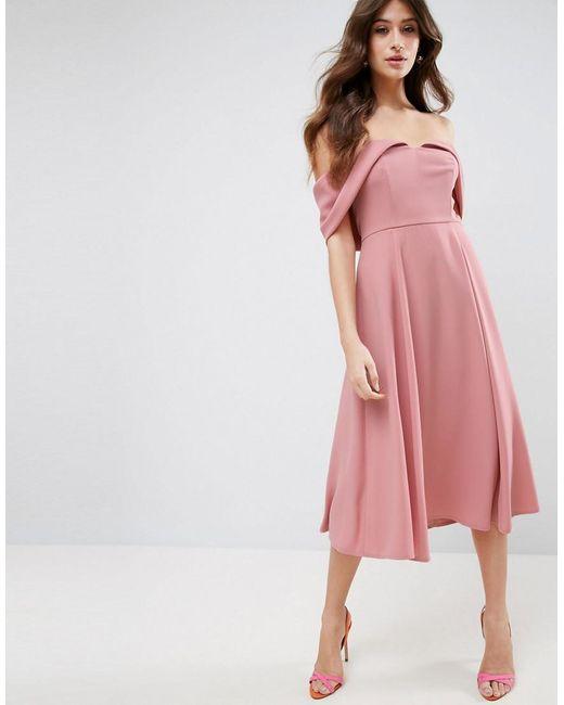 lyst asos bardot fold over midi prom dress in pink. Black Bedroom Furniture Sets. Home Design Ideas