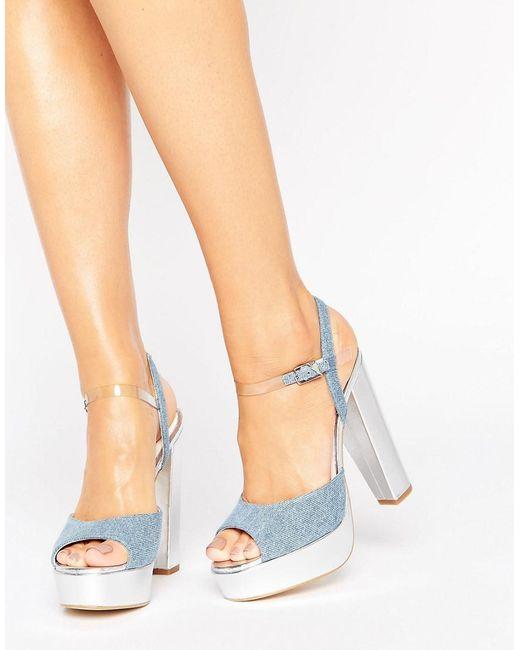 Terry De Havilland - Metallic Coco Denim Platform Heeled Sandals - Lyst