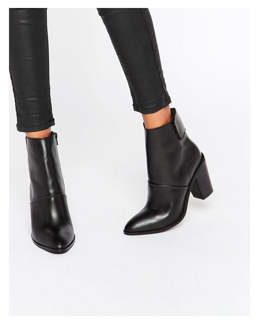ASOS   Black Effie Leather Ankle Boots   Lyst