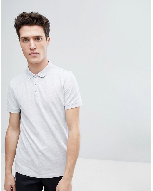 SELECTED - Gray Polo In Marl for Men - Lyst