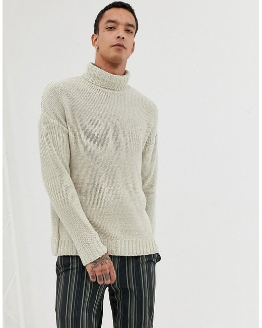 dd6eded1a ASOS - Natural Knitted Oversized Roll Neck Jumper In Beige for Men - Lyst  ...