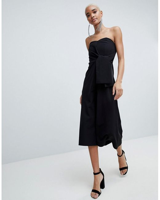 DESIGN Bandeau Jumpsuit With Tie Detail And Culotte Leg - Black Asos Discount Clearance Clearance Online Amazon R0WZZ5a