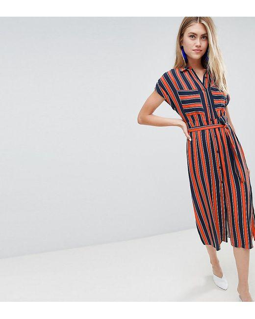 c9d73e03b5 Bershka - Multicolor Striped Dress With Tie Waist In Multi - Lyst ...