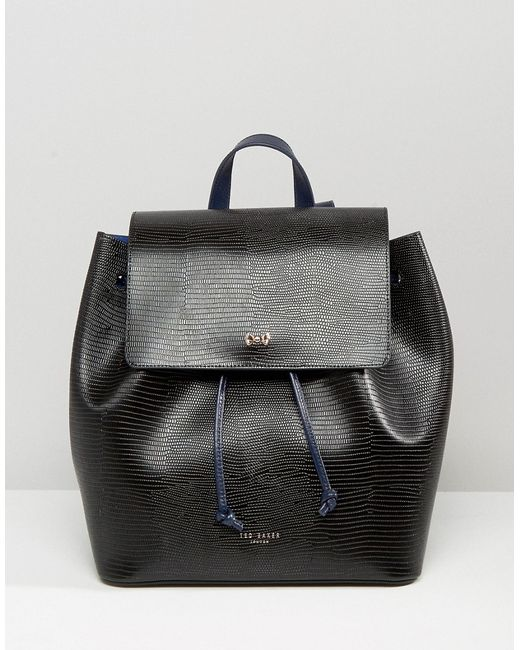 ted baker leather faux lizard backpack in black lyst. Black Bedroom Furniture Sets. Home Design Ideas