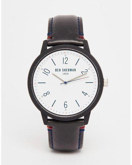 ben sherman leather watch in black in blue for men black. Black Bedroom Furniture Sets. Home Design Ideas