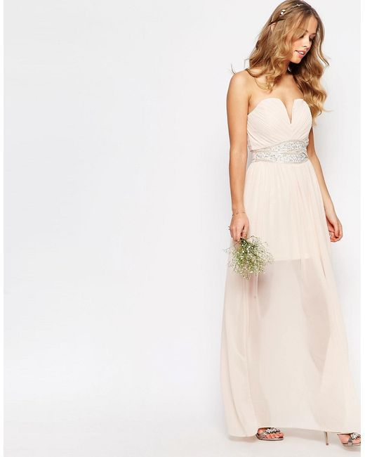 Tfnc London Wedding Pleated Embellished Waist Maxi Dress In Pink Nude