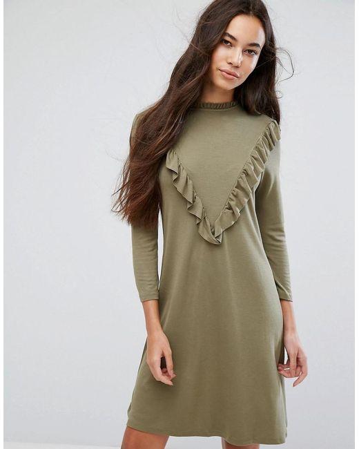B.Young - Green Ruffle High Neck Dress - Lyst