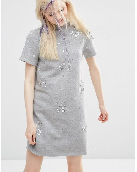 ASOS | Gray Sweat Dress With Embellishment | Lyst