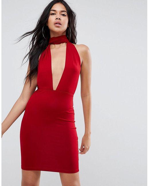 ASOS - Red Asos Halterneck Plunge Mini Bodycon Dress - Lyst