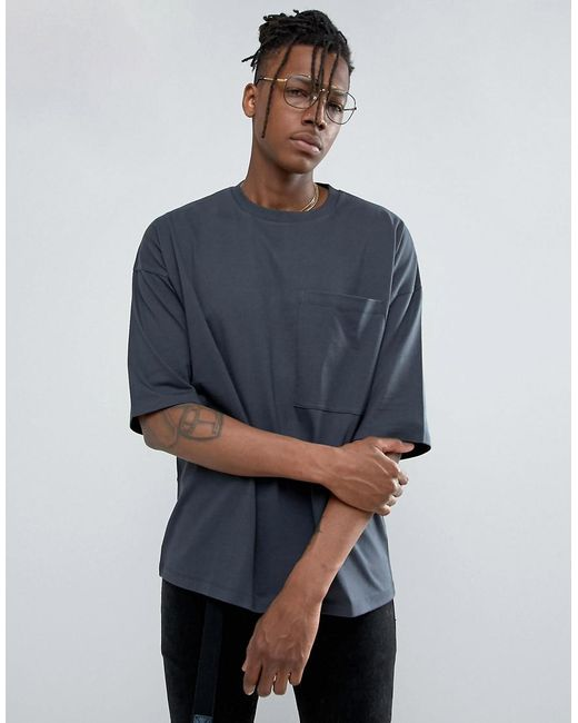 ASOS | Gray Heavyweight Oversized T-shirt With Oversized Pocket for Men | Lyst