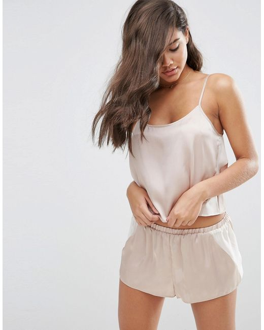 ASOS | Natural Chiffon Side Satin Cami & Short Pyjama Set | Lyst