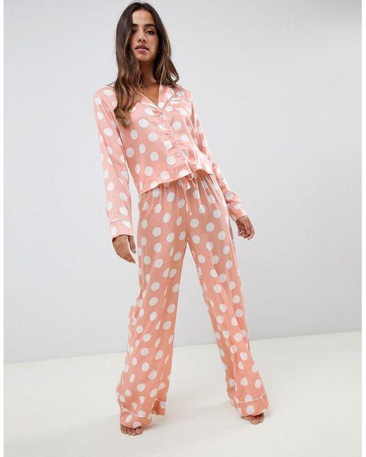 1aba90590e Women's Pink Asos Design Polka Dot Pyjama Shirt And Wide Leg Set 100% Modal