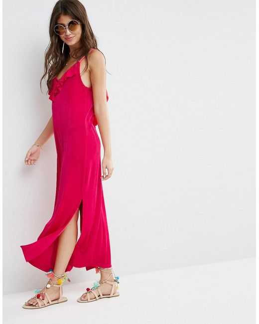ASOS - Pink Asos Slinky Maxi Dress With Asymmetric Frill Detail - Lyst