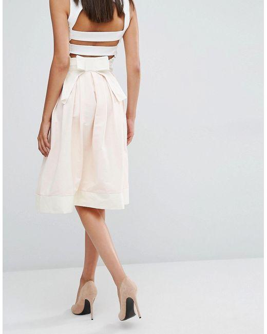 vesper structured midi skirt with bow back in multicolour