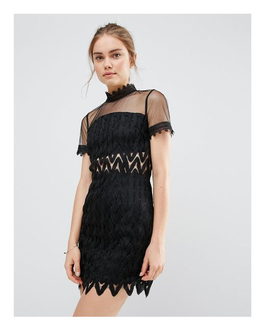 Endless Rose | Black Lace High Neck Mini Dress | Lyst