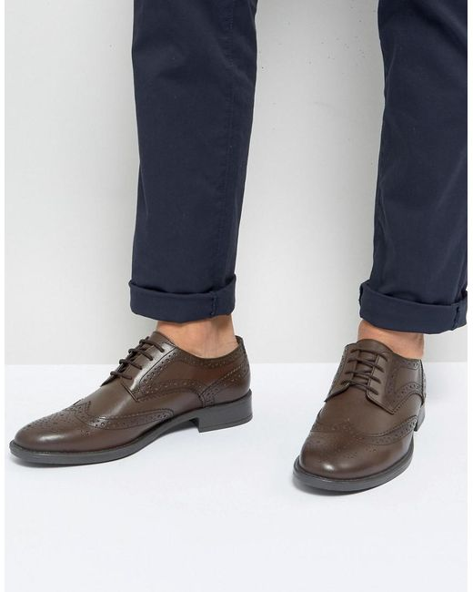 Frank Wright - Wide Fit Brogues In Brown Leather for Men - Lyst