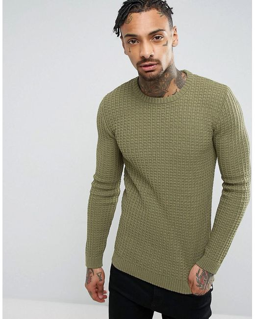55ff83701b9005 ASOS - Green Asos Muscle Fit Textured Jumper In Khaki for Men - Lyst ...