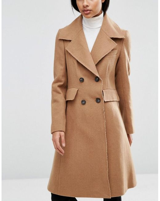 Asos Wool Blend Skater Coat With Raw Edges in Natural | Lyst