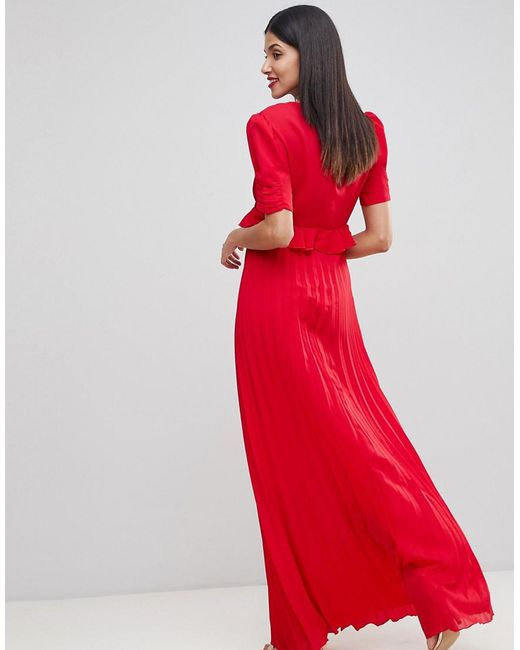 9ded6dc2041 ... ASOS - Red Pleated Maxi Tea Dress - Lyst